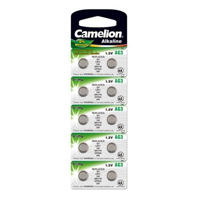 BATTERY CAMELION ALKALINE AG3 LR41 1.5V NO MERCURY/HG 10 PCS