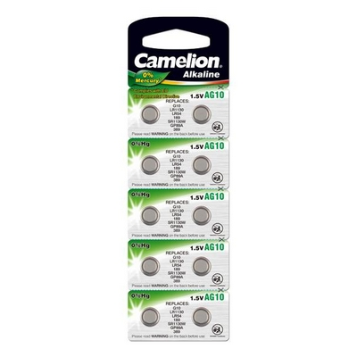 BATTERY CAMELION ALKALINE AG10 LR1130 LR54 1.5V NO MERCURY/HG 10 PCS