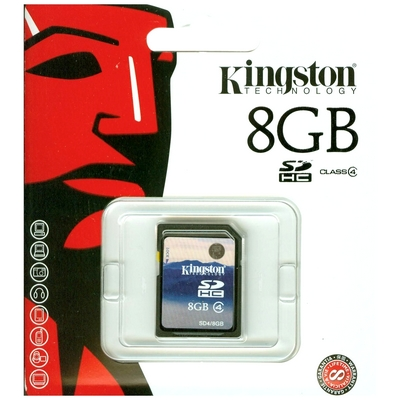 SD HC SECURE DIGITAL CARD HIGH CAPACITY 8GB CLASSE 4 KINGSTON