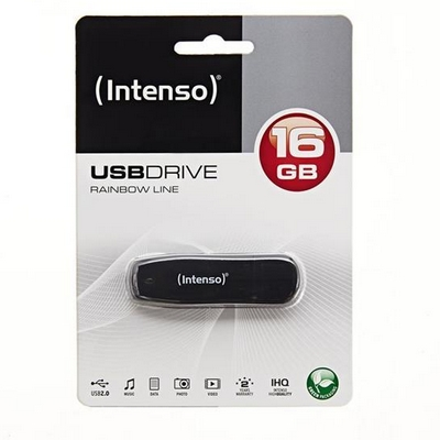 CHIAVETTA USB 2.0 FLASHDRIVE INTENSO RAINBOW LINE 16GB NERA