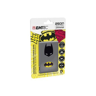 CARICABATTERIE ESTERNO PORTATILE EMTEC POWER BANK 2500MAH JUSTICE LEAGUE BATMAN