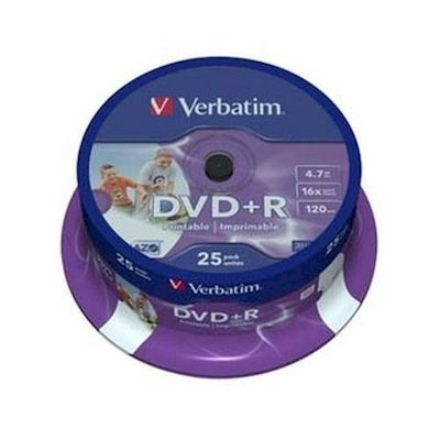 dvd+r 4,7gb/120m verbatim 16x printable spindle 25
