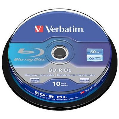 BLU-RAY BD-R DUAL LAYER 50GB VERBATIM 6X  SPINDLE 10