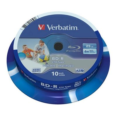 BLU-RAY BD-R WIDE INKJET PRINTABLE 25GB LTH TYPE VERBATIM 6X