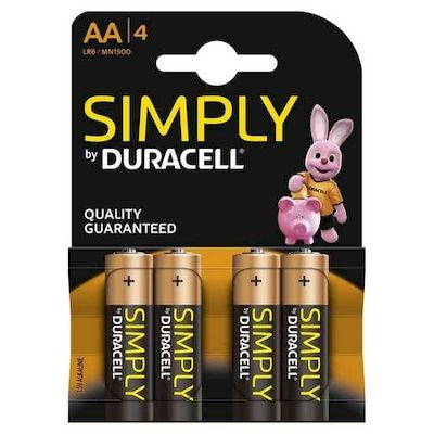 BATTERIE STILO AA DURACELL SIMPLY POWER MN1500/LR6 4PZ