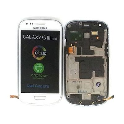 LCD TOUCH SCREEN E VETRO COMPLETO BIANCO SAMSUNG GALAXY S3 MINI GT-I8190