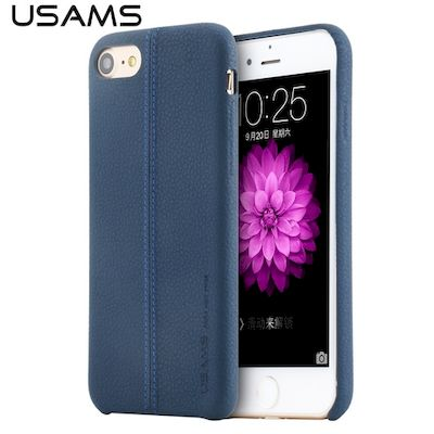 CUSTODIA COVER DI PROTEZIONE USAMS JOE LEATHER HARD CASE BLU PER IPHONE 7-8 PLUS