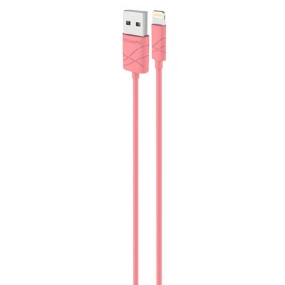 CAVO USAMS RICARICA E DATI USB 1MT ROSA PER IPHONE 5 5S 6 6S 7 IPAD IPOD