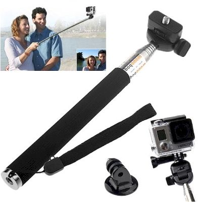 ST-55 EXTENDABLE POLE MONOPOD WITH TRIPOD ADAPTER FOR GOPRO HERO 2 3 4 5 6 BLACK