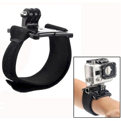 FASCIA DA POLSO CON SUPPORTO PER CAMERA GOPRO HD HERO 2 / 3 / 3+ / 4