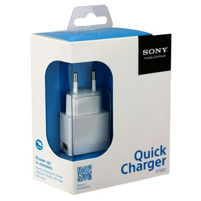ALIMENTATORE USB SONY QUICK CHARGER EP881 BIANCO CON CAVO MICRO USB BLISTER