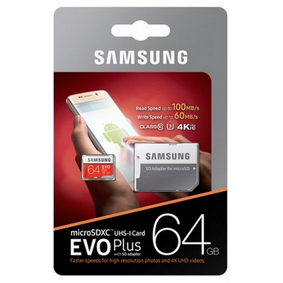 MICRO SDXC 64GB CLASSE 10 UHS-I U3 4K ULTRA HD EVO PLUS SAMSUNG MB-MC64GA