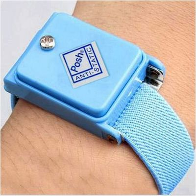WIRELESS ANTI STATIC ESD DISCHARGE CABLE BAND WRIST STRAP BABY BLUE