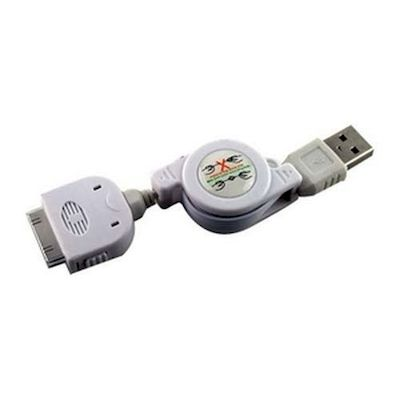 IPHONE 4 / 3GS / 3G / IPAD / IPOD USB DATA CABLE RETRACTABLE - ADJ