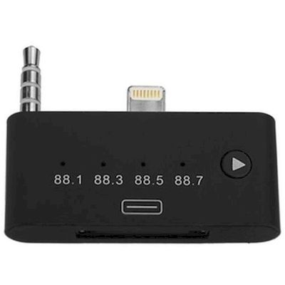 ADATTATORE DA 8 PIN A 30 PIN AUDIO CON FM TRANSMITTER NERO PER IPHONE 5 6 7
