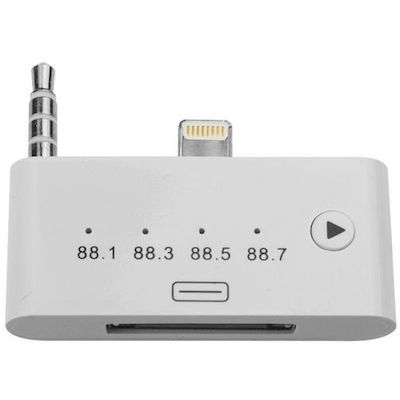 ADATTATORE DA 8 PIN A 30 PIN AUDIO CON FM TRANSMITTER BIANCO PER IPHONE 5 6 7
