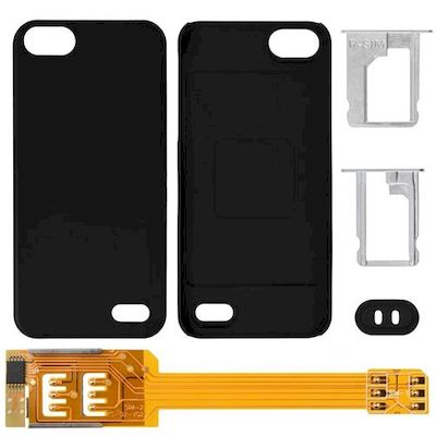 IPHONE 5 DUAL SIM CARD ADAPTER WITH BLACK BACK COVER - N SHOP