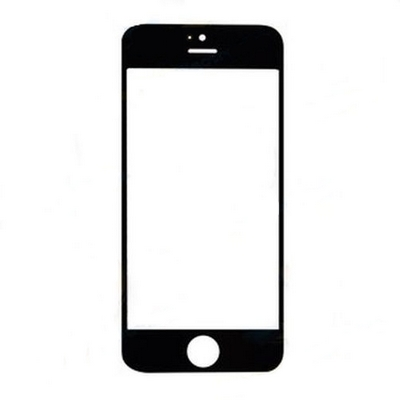 REPLACEMENT TOP QUALITY GLASS BLACK FOR IPHONE 5S - NOBRAND
