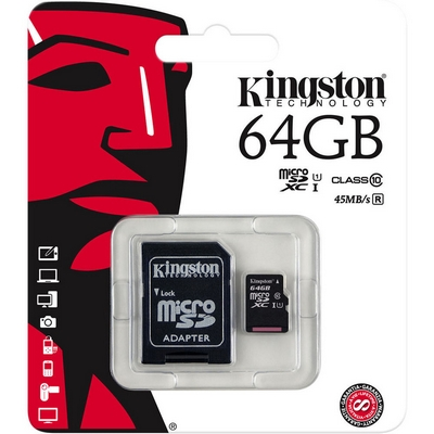 memoria micro sd high capacity 64gb classe 10 uhs-i canvas select 80mbs kingston