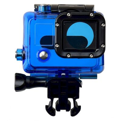 CASE PROTETTIVO WATERPROOF CLEAR BLU PER CAMERA GOPRO HD HERO 3 / 3+ / 4 BLACK