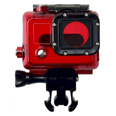 CASE PROTETTIVO WATERPROOF CLEAR ROSSO PER CAMERA GOPRO HD HERO 3 / 3+ / 4 BLACK