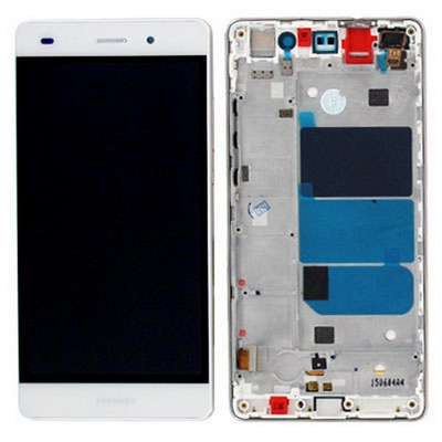 LCD TOUCH SCREEN VETRO E COVER FRAME COMPLETO BIANCO PER HUAWEI P8 LITE