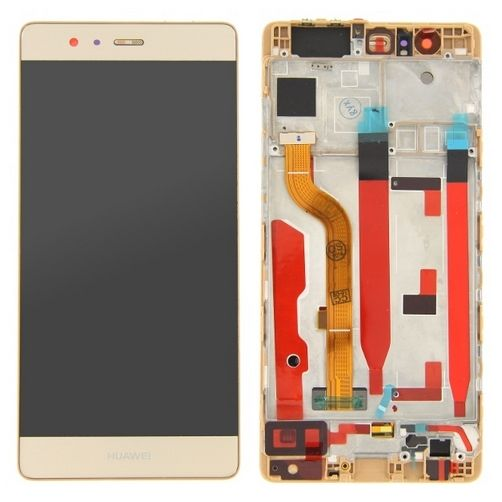 LCD TOUCH SCREEN VETRO E COVER FRAME COMPLETO GOLD PER HUAWEI P9