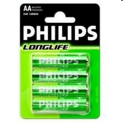 BATTERIE STILO AA PHILIPS LONGLIFE R06 4PZ