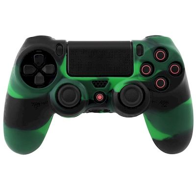 SILICON CASE GREEN BLACK FOR PS4 DUAL SHOCK 4 CONTROLLER - N SHOP