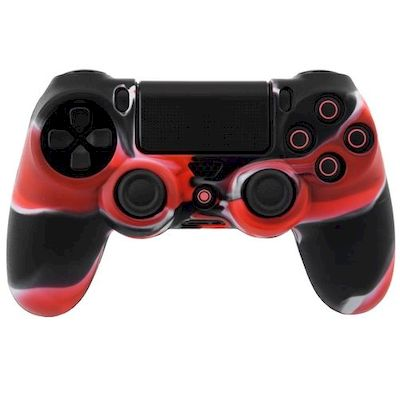 SILICON CASE RED BLACK FOR PS4 DUAL SHOCK 4 CONTROLLER - N SHOP