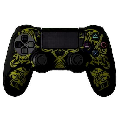 SILICON CASE BLACK YELLOW DRAGON PATTERN FOR PS4 DUAL SHOCK 4 CONTROLLER - N SHO