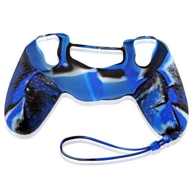 SILICON CASE WITH HAND ROPE CAMOUFLAGE BLUE FOR PS4 DUAL SHOCK 4 CONTROLLER - N