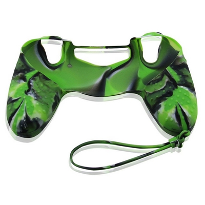 SILICON CASE WITH HAND ROPE CAMOUFLAGE GREEN FOR PS4 DUAL SHOCK 4 CONTROLLER - N